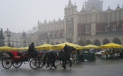 Castle Homes: Romantic Krakow Town Square where you will find Wawel Castle the home of Polish medieval royalty.jpg